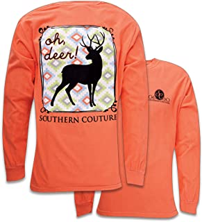 SC Comfort Oh Deer on Long Sleeve Womens Fit Shirt - Bright Salmon