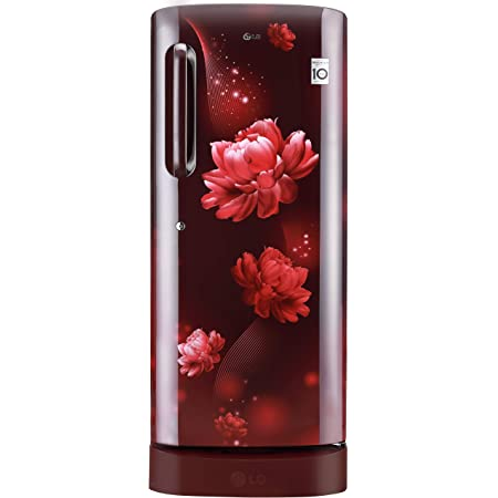 LG 235 L 4 Star Inverter Direct-Cool Single Door Refrigerator (GL-D241ASCY, Scarlet Charm, Base stand with Drawer)