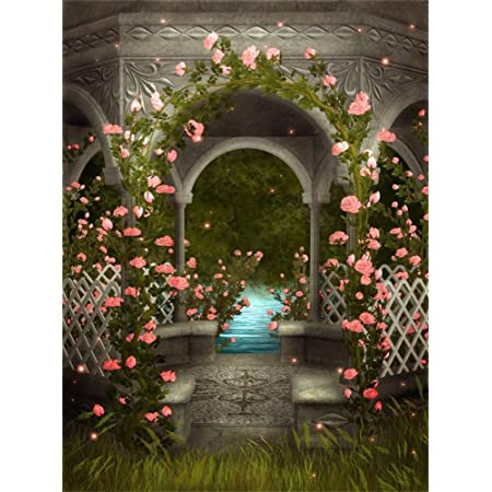 CdHBH 6x9ft Fairy Tale Nature Landscape Wonderland Beautiful Flowers and Trees Fence Lawn Photo Studio Studio Photography Photography Props Wallpaper Home Decoration Vinyl Material