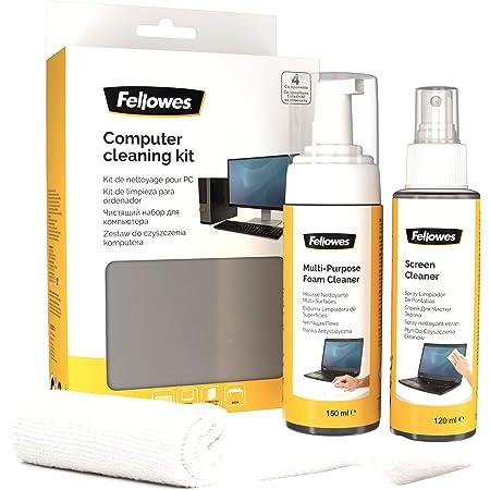 Kit de limpieza para ordenador (spray limpiador pantallas+bote espuma superficies+toallitas+limpiador teclado)
