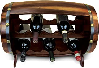 Puzzled Napoleon Wine Rack 10 Bottle Free Standing Wine Holder Bottle Rack Floor Stand Or Countertop Wine Wooden Barrel Decor Storage Organizer Liquor Display to Decorate Home Kitchen Bar Accessory
