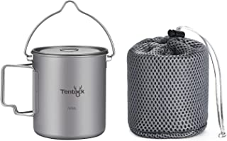 Tentock Titanium Cup Backpacking Lightweight Camping Mug Portable Coffee Mug Outdoor Multifunctional Cooking Pot with Lid ...