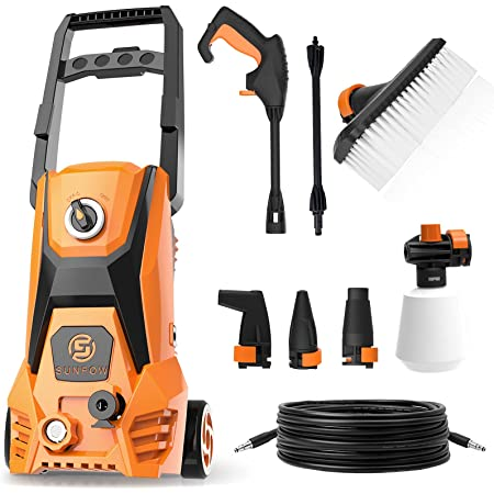SUNPOW Electric Pressure Washer 2500 PSI 1.8 GPM High Power Washer Machine with 4 Nozzles, Brush, Detergent Tank & Hose for Cleaning Home, Vehicle, Car, Patios, Driveways, Fences, Garden