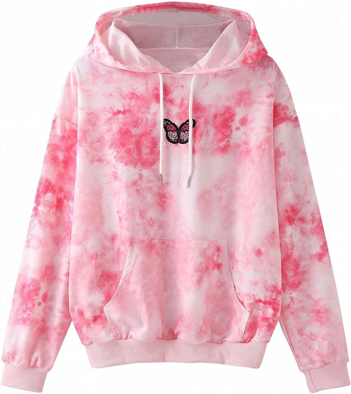 felwors Sweatshirt for Women, Womens Hoodies Tops Tie Dye Print Long Sleeve Drawstring Pullover Sweatshirts with Pockets