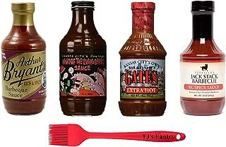 Kansas City BBQ Sauce Variety Sampler Gift Pack (4) + TJs Pantry Silicone Basting Brush (Spicy Variety)