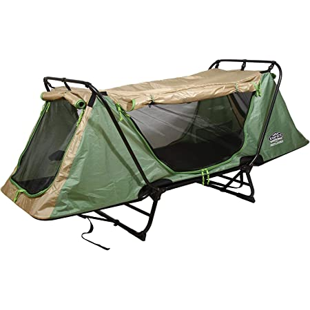 Kamp-Rite Original Portable Durable Cot, Converts into Cot, Chair, or Tent w/ Easy Setup, Waterproof Rainfly & Carry Bag Included, Green/Tan