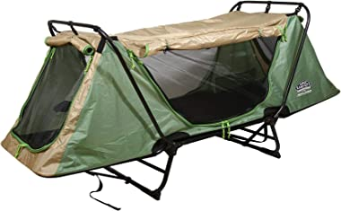 Kamp-Rite Original Tent Cot Outdoor Folding Personal Individual Camping and Hiking Bed for 1 Person, Green and Tan