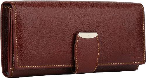 K London Stylish Maroon Red Long Women Purse Wallet Clutch with Loop Closure & 2 Zipped Pockets - AZ01_Leather_Maroon