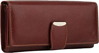 K London Stylish Maroon Red Long Women Purse Wallet Clutch with Loop Closure & 2 Zipped Pockets - AZ01_Leather_Maroon