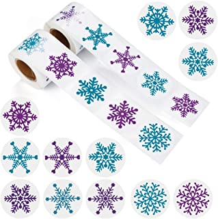GESKS Multiple Christmas Snowflakes Stickers 500 PCS Xmas/Winter Wonderland/Holiday Party Favors Decorations Cards Envelope Seals Sticker Decals,12 Different Designs