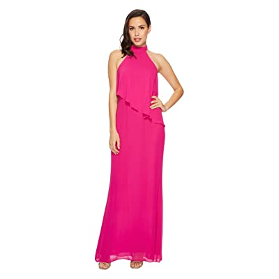 Laundry by Shelli Segal Chiffon Halter Gown with Asymmetrical Popover (Electric Pink) Women