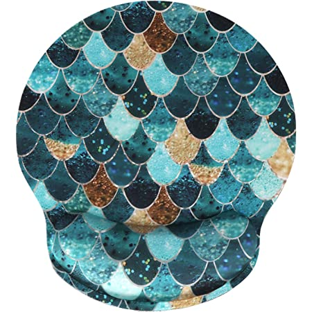 Ergonomic Mouse Pad with Gel Wrist Rest Support, iLeadon Non-Slip Rubber Base Wrist Rest Pad for Home, Office Easy Typing & Pain Relief, Mermaid Scales