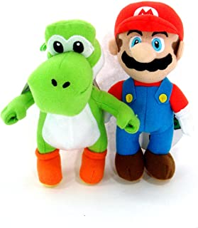 "Mario and Yoshi 7"" Plush Coin Dangle Set- Includes 1 Mario and 1 Yoshi"