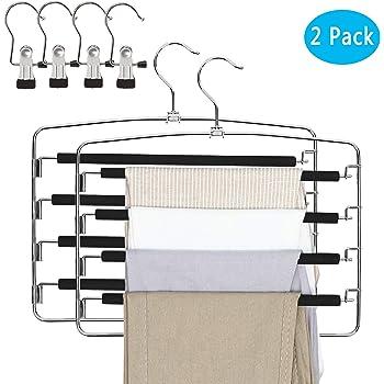 Qualsen Pants Hangers 2 Pack Jeans Hangers Multi Layers Non Slip Space Saving Hanger Closet Organizador de Almacenamiento para Pantalones Pantalones Faldas de Bufanda (con 4 Pinzas portátiles): Amazon.es: Hogar