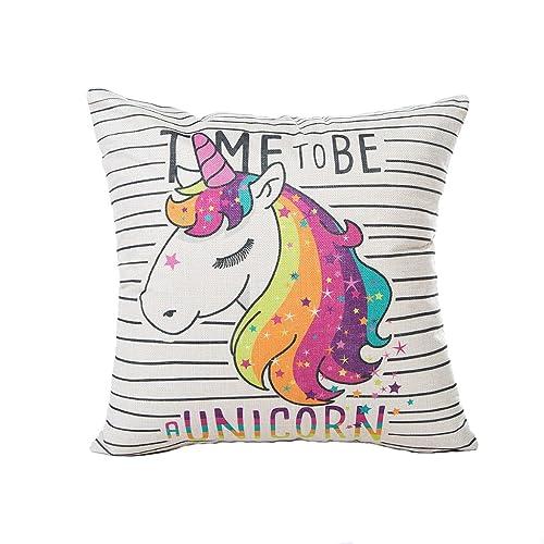 Bonitas fundas de cojín de unicornio para sofá, cama, sala de estar, dormitorio