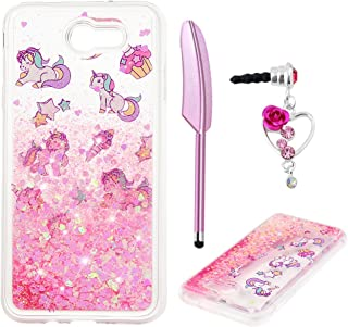 ZSTVIVA J7 Case, Galaxy J7 Case, Liquid Glitter Case Cover Sparkle Love Heart Clear TPU Shockproof Bumper Samsung Galaxy J7 Case 2017 Cute Pink Unicorn