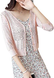 Fieer Women Hollow Out Knitted 3/4 Bell Sleeve Trendy Bolero Shrug Cardigan