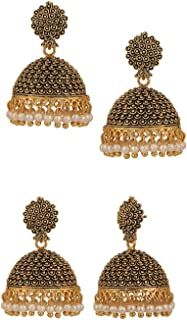 Indian Vintage Bollywood Gypsy Oxidized Gold Plated Traditional Jhumka Jhumki Earrings for Women and Girls