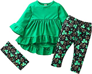 WARMSHOP Infant Toddler Kids Baby Girls Solid Color Long Sleeve Tops Dress Pants Headbands St Patrick's Day Outfits