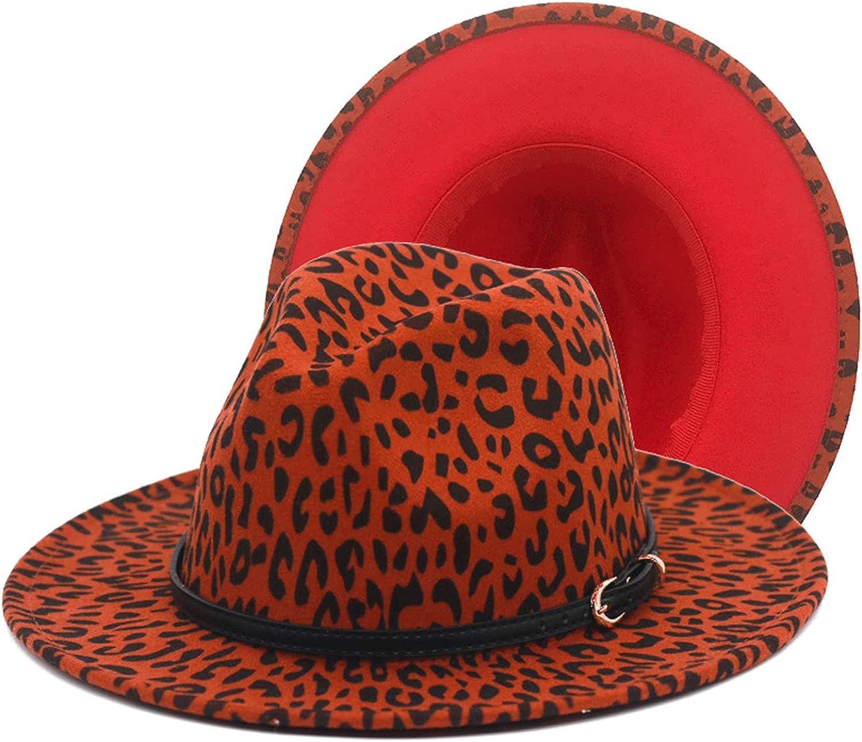 ZOYACCHIC Two Tone Fedora Hat Wide Brim Felt Panama Trendy Jazz Hat with Belt Buckle