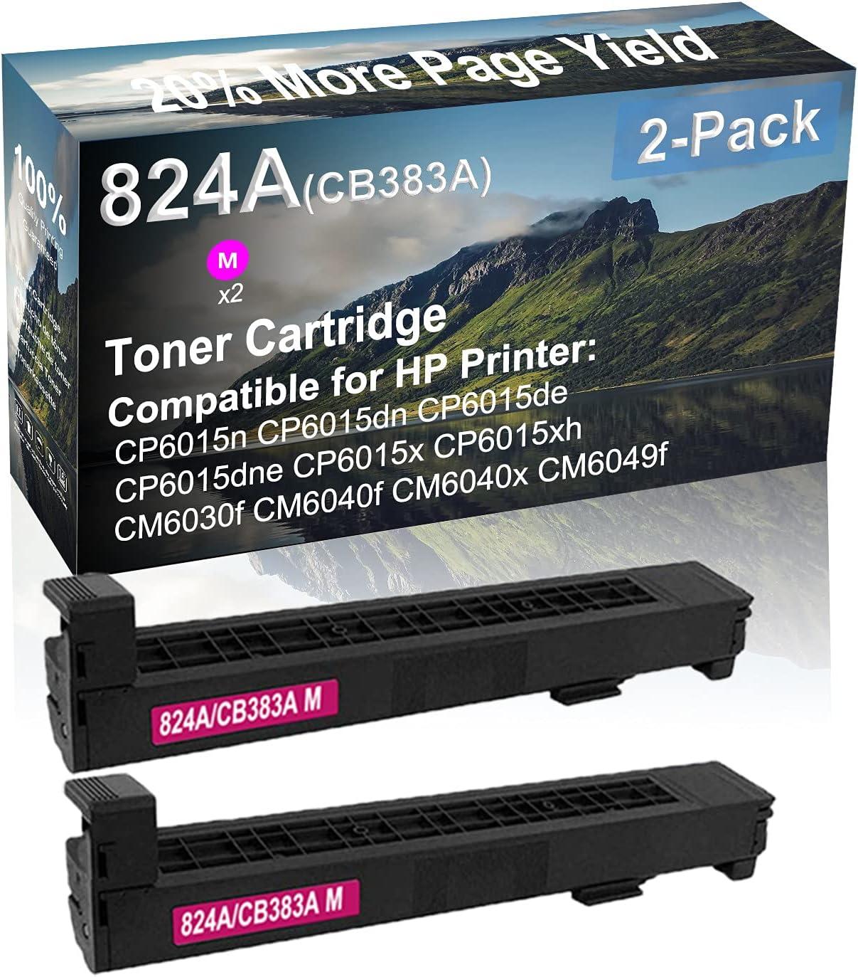2-Pack (Magenta) Compatible High Yield 824A (CB383A) Laser Printer Toner Cartridge use for HP CM6030f CM6040f CM6040x CM6049f Printer