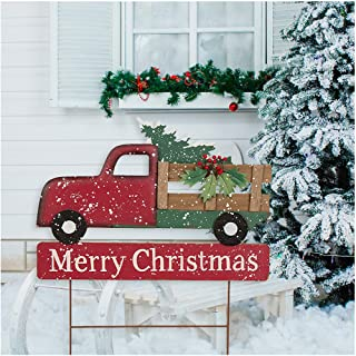 Glitzhome Christmas Decoartions Metal Wooden Truck Yard Stakes Garden Decor Stake Lawn Patio Outdoor Sign Wall Decor 24
