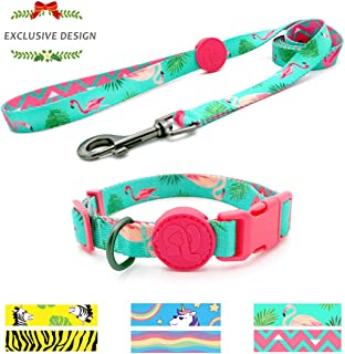 azuza Dog Collar and Leash Set, Fun Patterns Collar with Matching Leash, Animal Carnival Collection for Small Medium and Large Dogs