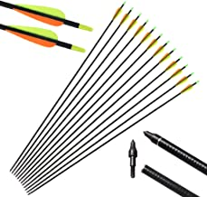 IRQ 32inch Fiberglass Arrows Targeting Practice Adjustable Nocks Screw in Replaceable Arrow Tips for Compound Recurve Bow