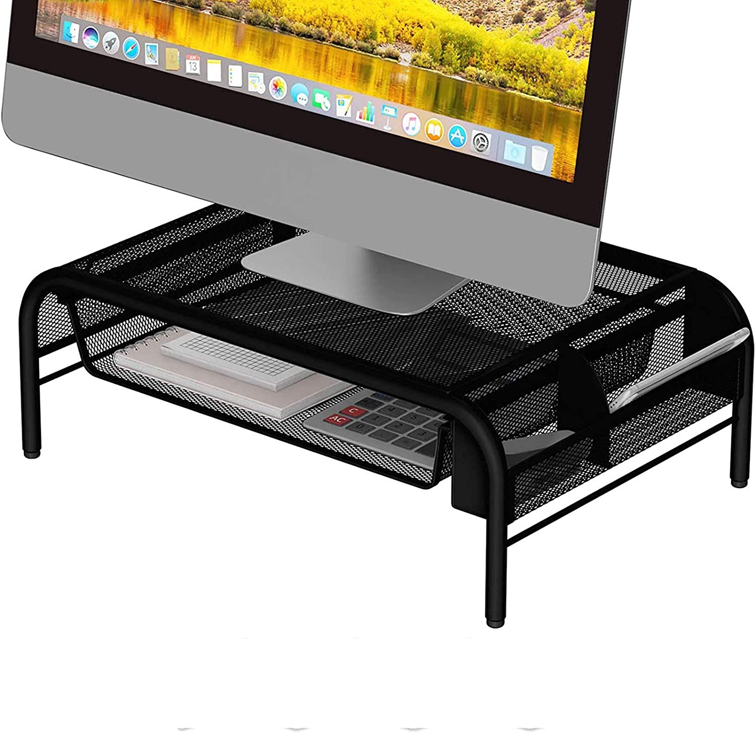 Computer Racks & Cabinets- Metal Monitor Stand Riser and Laptop Desk Stand with Organizer -Desktop Computer Stand and Monitor Riser Stand for Desk with Drawer -Improves Airflow (Black)