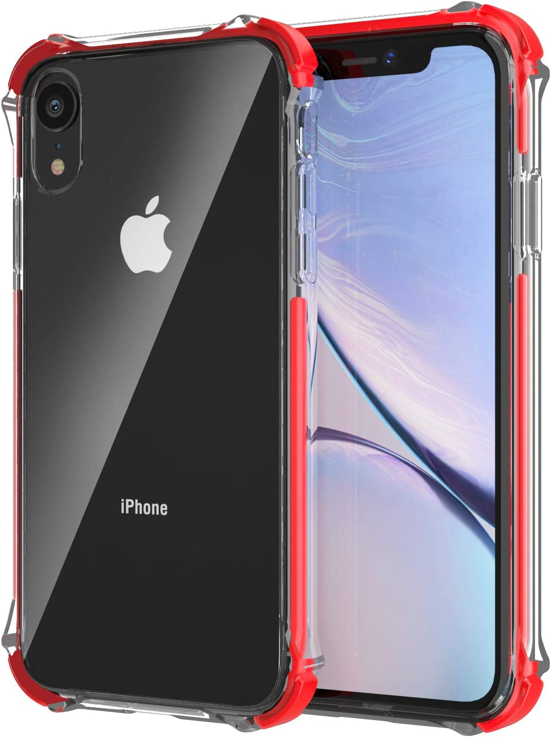 EFFENX Clear iPhone XR Case,Thin Slim Shockproof Case Protective Cover TPU Bumper Hard PC Back Cover for iPhone XR 6.1'' (Crystal Clear) (Clear red)
