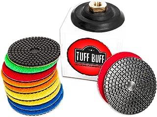 TUFF BUFF - Wet/Dry Diamond Polishing Pads - 11 Piece Set with Rubber Backer for Granite, Stone, Concrete, Marble, Travertine, Terrazzo- 4