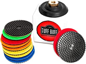 TUFF BUFF - Wet/Dry Diamond Polishing Pads - 11 Piece Set with Rubber Backer for Granite, Stone, Concrete, Marble, Travertine, Terrazzo- 4