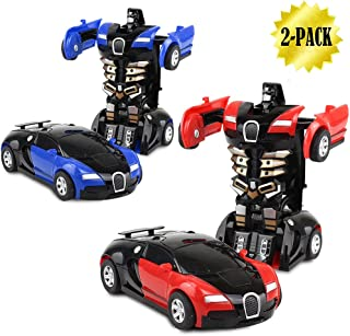 XHAIZ Robot Rescue Bots,Robot Pull Back Car Toy for Kids Vehicles 2 in 1 Deformation Car ,2-Pack ( Red and Blue)
