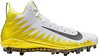 Mens Alpha Menace Pro Mid Football Cleats (White/Yellow,9.5 D (M) US)