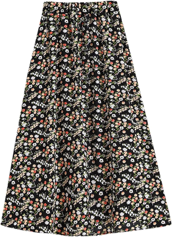 NAries Women's High Waist Floral Half Length Skirt New Hip Wrap A-line Skirt M-XXL