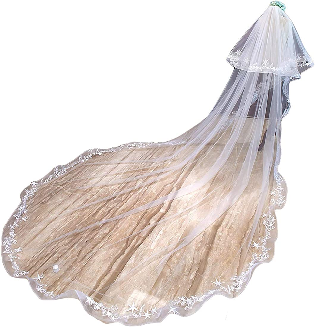 Fenghuavip 2T Cathedral Bridal Veils Ruffle Edge Wedding Veil with Free Comb