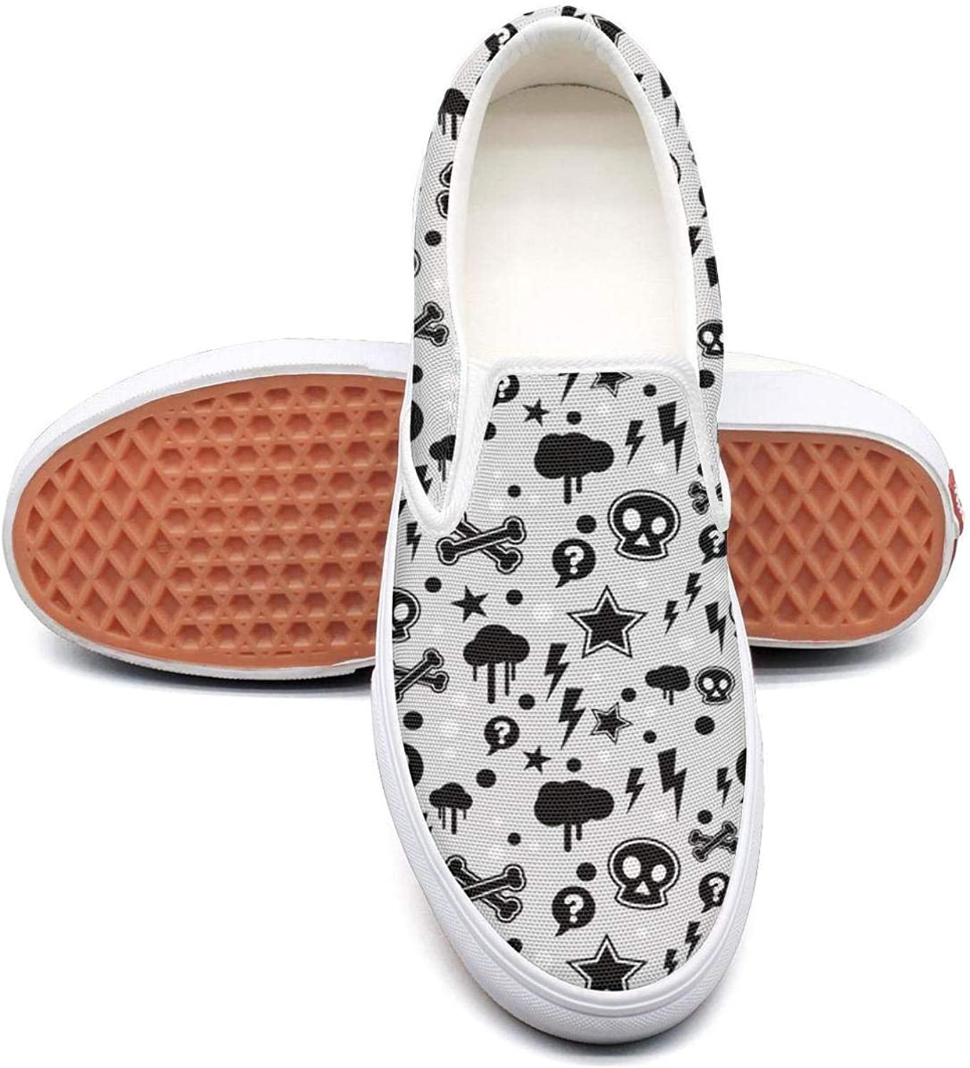 Trendy Skull Star Pattern Slip On Superior Comfort Sneakers Canvas shoes for Women Fashion