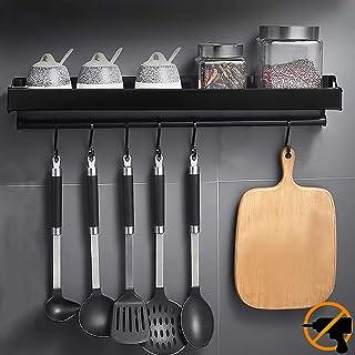 MOOING Porte-épices, Support Rangement Ustensiles de Cuisine Mural avec 6 Crochets Amovibles,Étagère de Cuisine Porte-Cass...