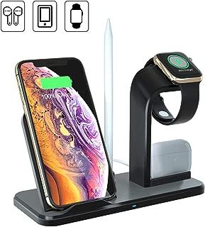 ワイヤレス充電スタンド 4in1 Airpods pro/iPhone/Apple Watch充電器 急速充電器 置くだけ充電 5W/7.5W/10W出力 ワイヤレス充電器 iPhone 11 / 11 Pro / 11 Pro Max/XS/XS Max/XR/X / 8 / 8 Plus Samsung Galaxy LG 対応 Apple Pencil ポット Qi対応機種適用 (2020最新バージョン)