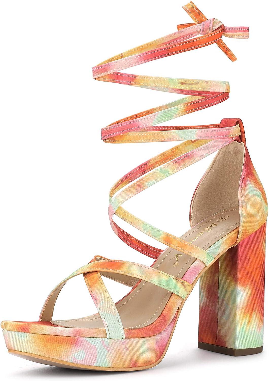 Allegra K Women's Tie Dye Platform Heel Financial sales sale Sandals Max 58% OFF Lace Chunky Up