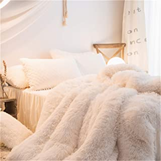MooWoo 1 PCS Super Soft Shaggy Plush Flannel Duvet Cover, Faux Fur Fluffy Bedding, Zipper Close and Ties, No Inside Filler (White, Full)