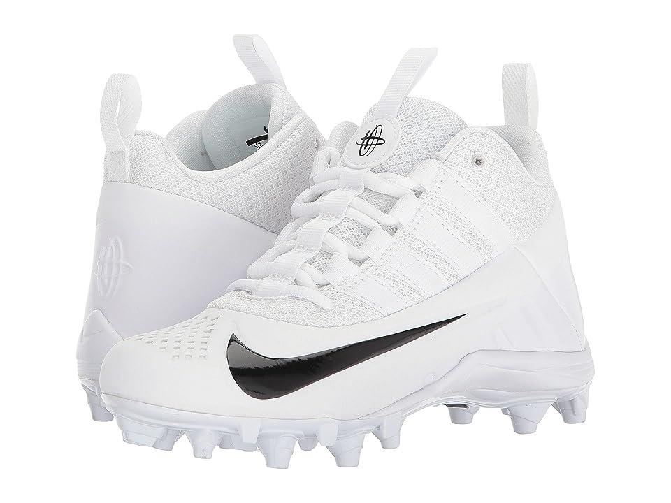 Nike Kids Alpha Huarache 6 Lacrosse (Little Kid/Big Kid) (White/Black/Black) Kids Shoes