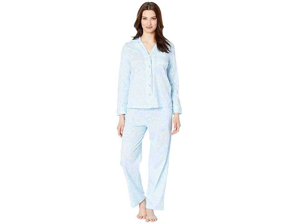Carole Hochman Notch Collar Pajama Set (Blue Paisley) Women