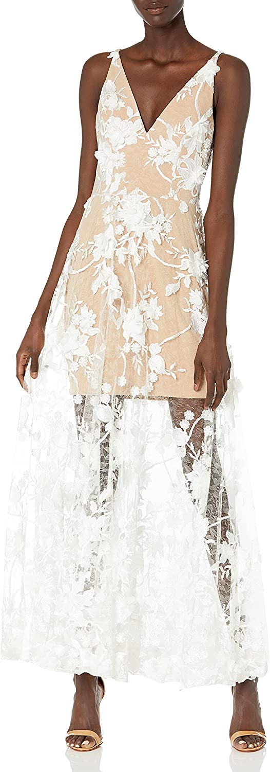 Dress the Population Women's Embellished Plunging Gown Sleeveless Floral Long Dress, White/Nude Sidney, S