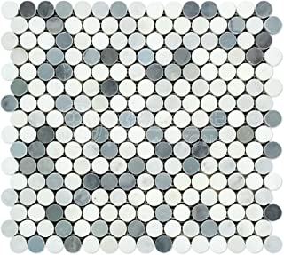 Oriental White (Eastern White) Marble Penny Round Mosaic Tile with Blue & Gray Marble Dots, Honed
