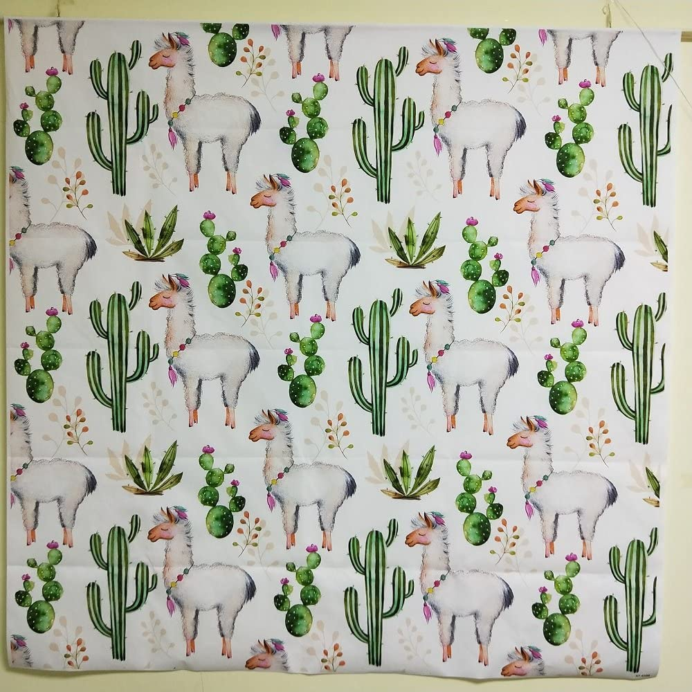 220x300cm Photography Backdrops Lama Cactus Flowers Background Cartoon Drawing Green Tropical Plants Baby Birthday Party Photo Backdrop for Studio Prop Baby Shower XT-6588