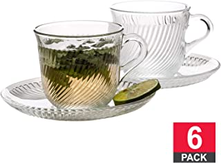 Tea Cups and Saucers Sets, 6 PCs Clear Glass Coffee Mugs and 6 PCs Glass Saucers