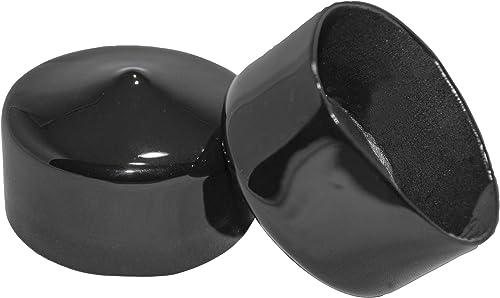 Prescott Plastics 2 Inch Round Black Vinyl End Cap, Flexible Pipe Post Rubber Cover (4)