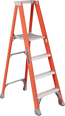 Louisville Ladder 4 Foot Fiberglass Ladder with Platform, 300-Pound Duty Rating, FP1504