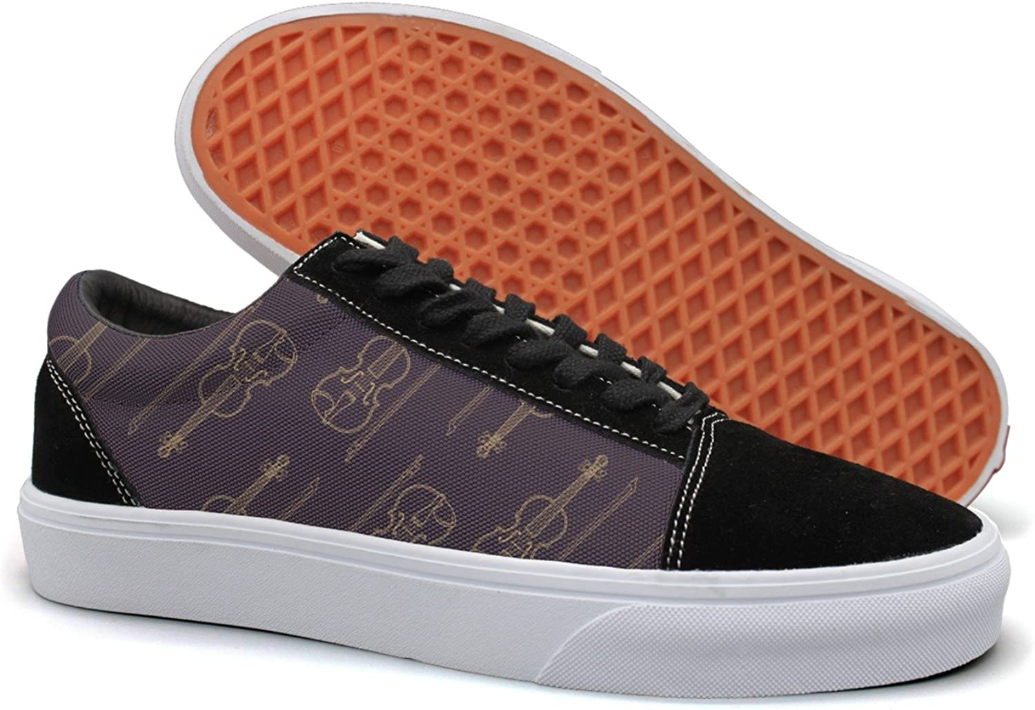 Feenfling Classical Music Violin Womens Plain Suede Canvas Boat shoes Low Top Sneakers shoes